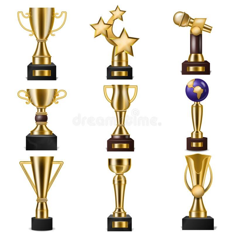 授予战利品传染媒介优胜者得奖的冠军的得奖的金黄trophycup有胜利的奖励的在竞争 皇族释放例证