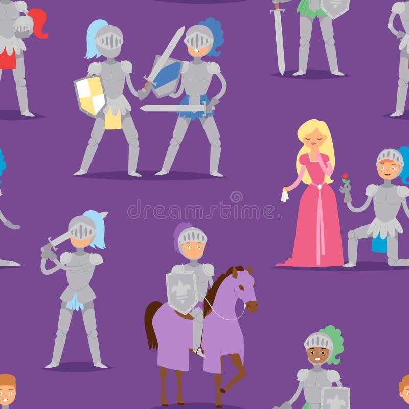 授以爵位动画片与马和公主装甲战士人勇敢的中世纪服装战士传染媒介的英雄字符 向量例证