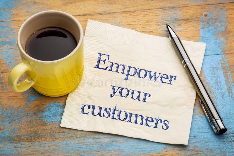授权您的在餐巾的顾客忠告 库存图片