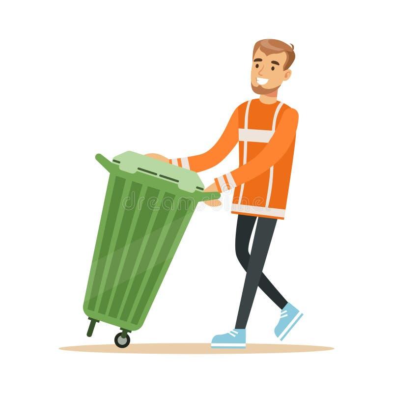 去掉有垃圾,回收废物和运用的橙色制服的微笑的清道夫人一个容器 向量例证
