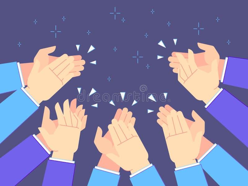 掌声手 手拍手、赞许的祝贺和成功拍的传染媒介例证 向量例证