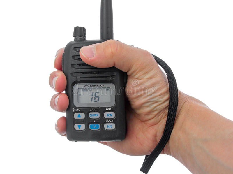 掌握航海用无线电台的人现有量。 库存照片