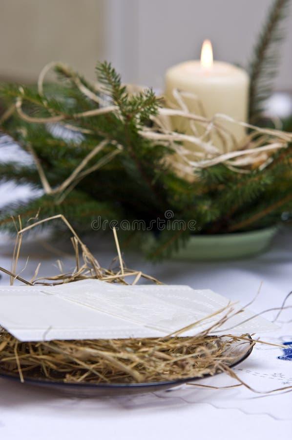排列圣诞节表 库存图片