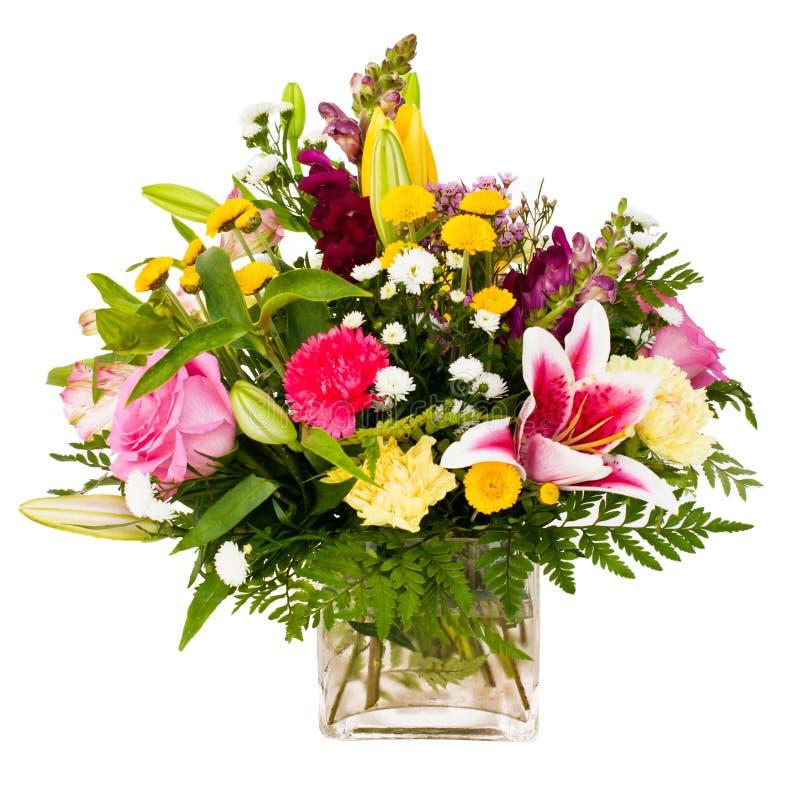 排列花束焦点五颜六色的花 免版税库存照片