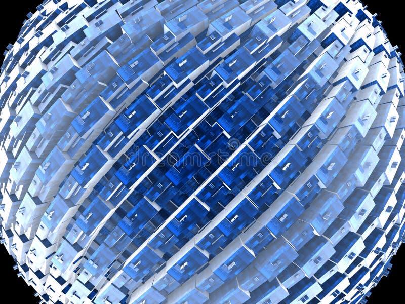 排列蓝色求全球的幻想的立方 免版税图库摄影
