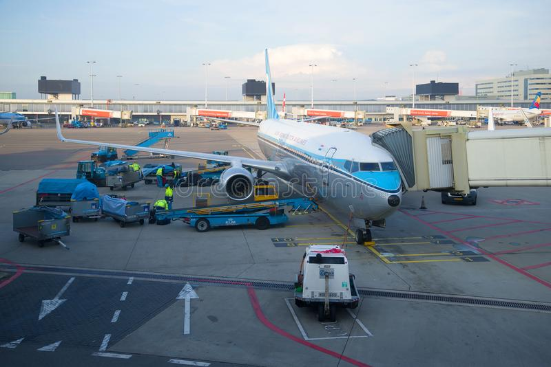 排序和装载KLM荷兰皇家航空公司平面波音737的行李在斯希普霍尔机场 图库摄影