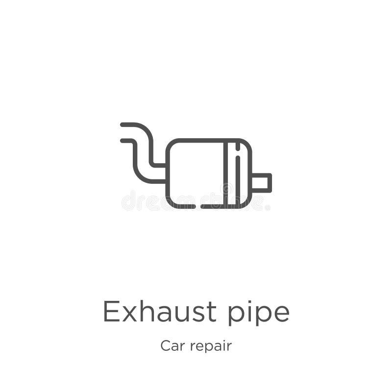 排气管从汽车修理汇集的象传染媒介 稀薄的线排气管概述象传染媒介例证 概述,稀薄的线 向量例证
