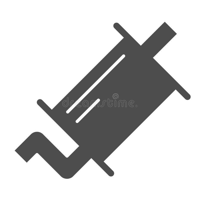 排气管坚实象 围巾在白色隔绝的传染媒介例证 汽车零件纵的沟纹样式设计,设计为网 向量例证
