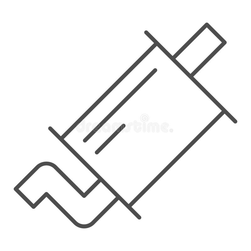 排气管稀薄的线象 围巾在白色隔绝的传染媒介例证 汽车零件概述样式设计,设计为 向量例证