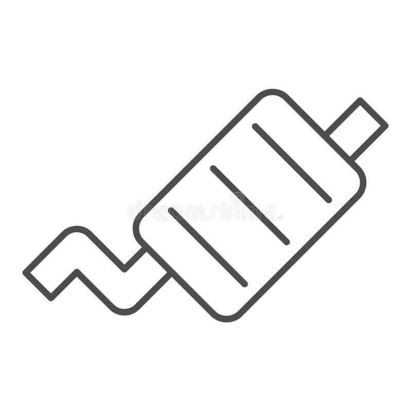 排气管稀薄的线象 汽车围巾在白色隔绝的传染媒介例证 排气管概述样式设计,被设计 向量例证