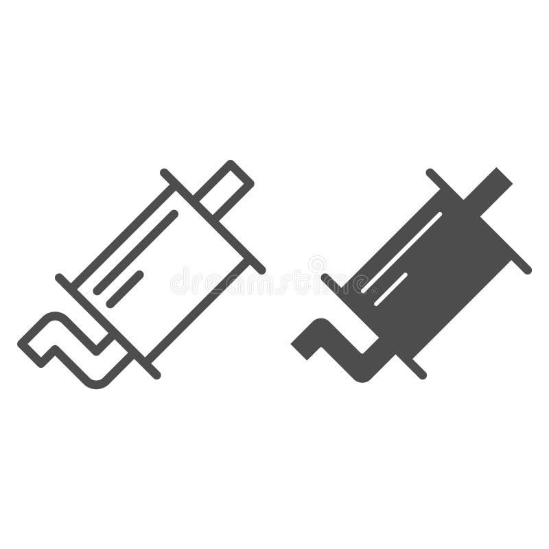 排气管线和纵的沟纹象 围巾在白色隔绝的传染媒介例证 汽车零件概述样式设计,被设计 库存例证