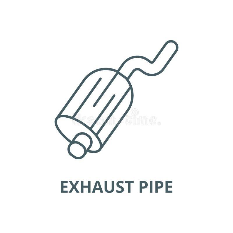 排气管线象,传染媒介 排气管概述标志,概念标志,平的例证 向量例证