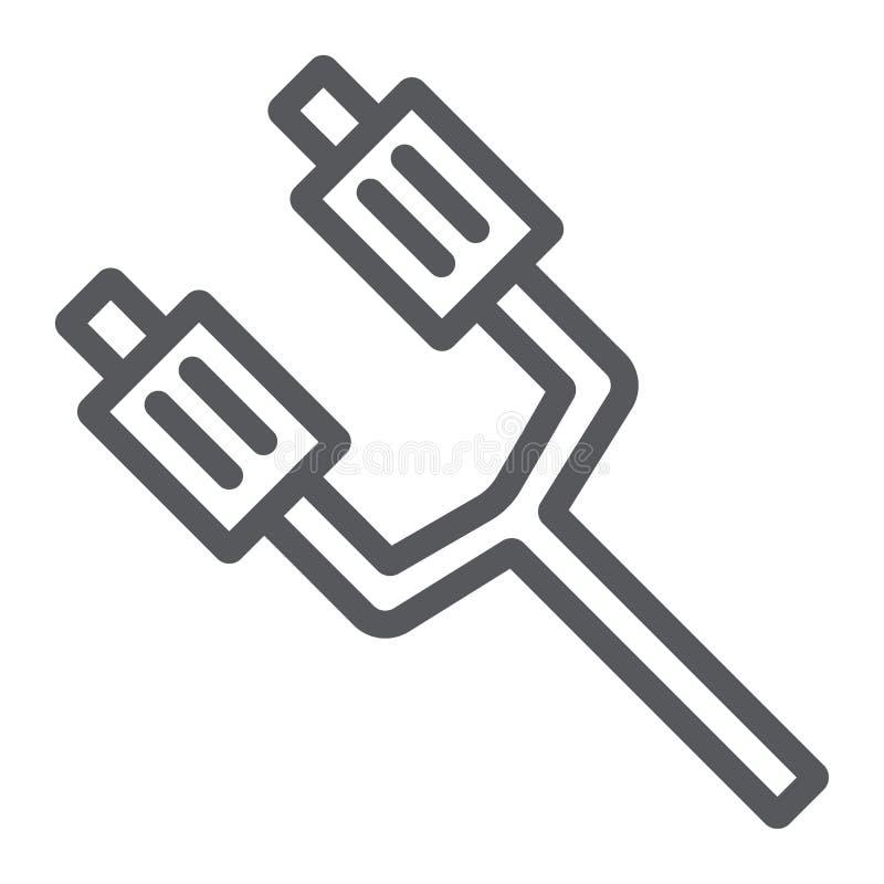 排气管线象,汽车和细节,汽车零件标志,向量图形,在白色背景的一个线性样式 库存例证
