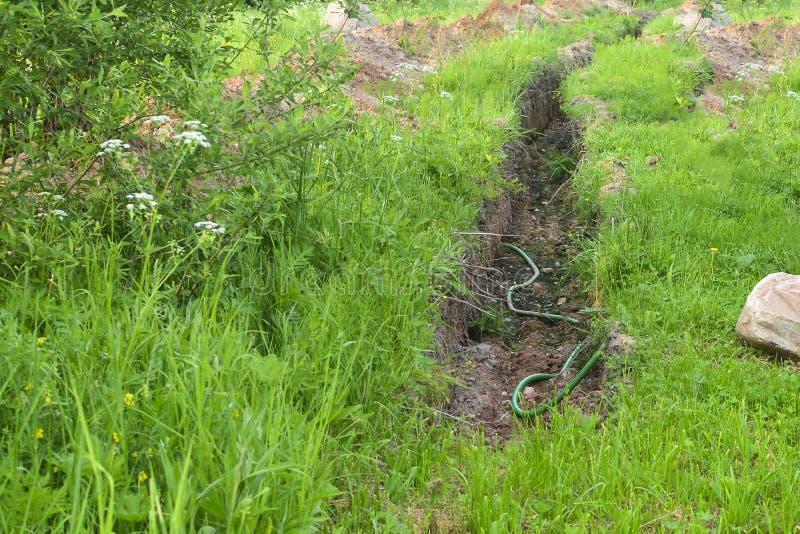 排水沟 排泄区域的排水管道 开垦荒地,风景设计 免版税库存图片