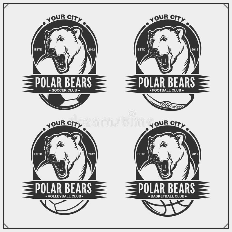 排球、篮球、足球和橄榄球商标和标签 体育俱乐部象征与北极熊 T恤杉的印刷品设计 库存例证