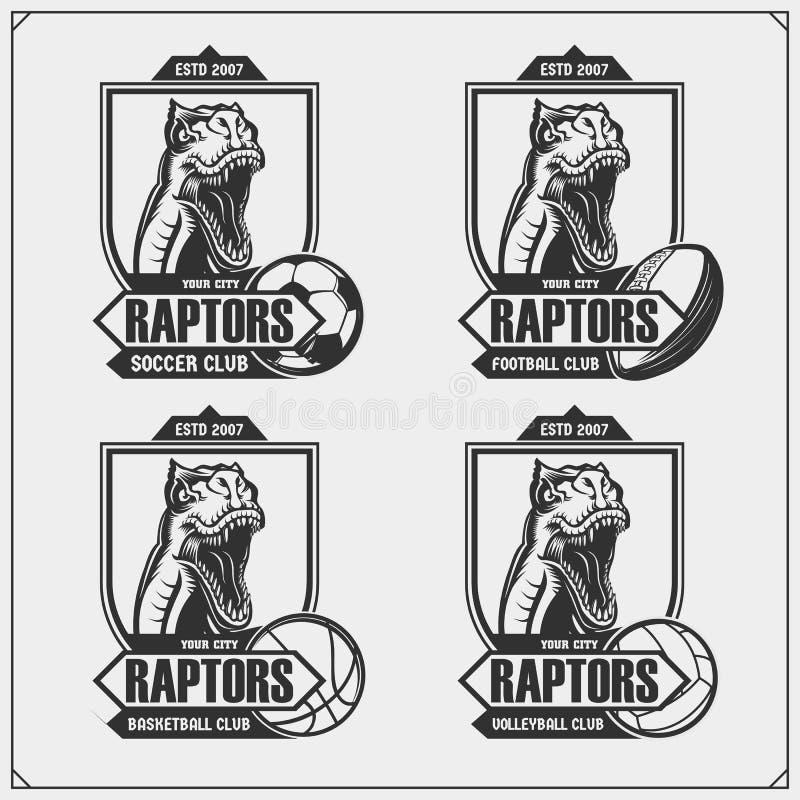 排球、篮球、足球和橄榄球商标和标签 体育俱乐部象征与猛禽恐龙 T恤杉的印刷品设计 向量例证