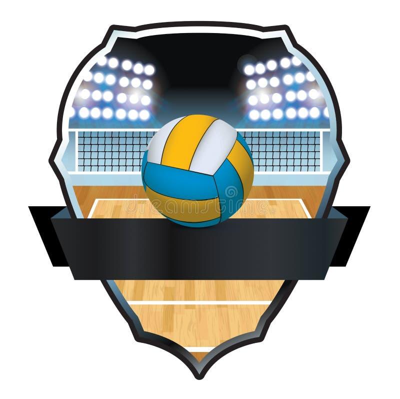 排球和法院徽章例证 皇族释放例证