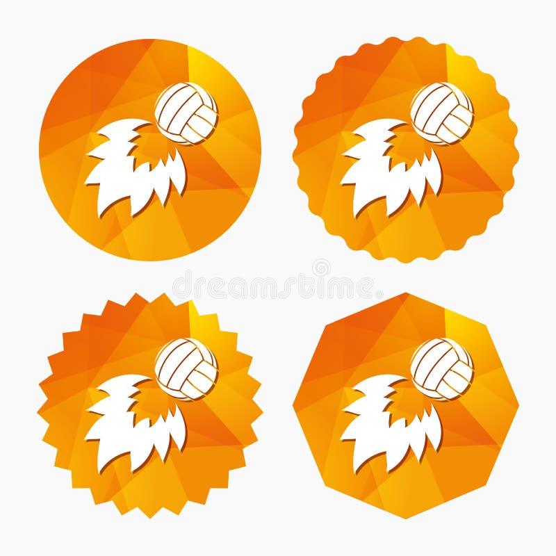 排球火球象 海滩体育标志 库存例证