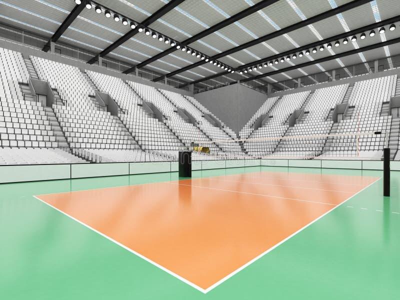 排球的美好的竞技场与白色位子和VIP箱子- 3d回报 皇族释放例证