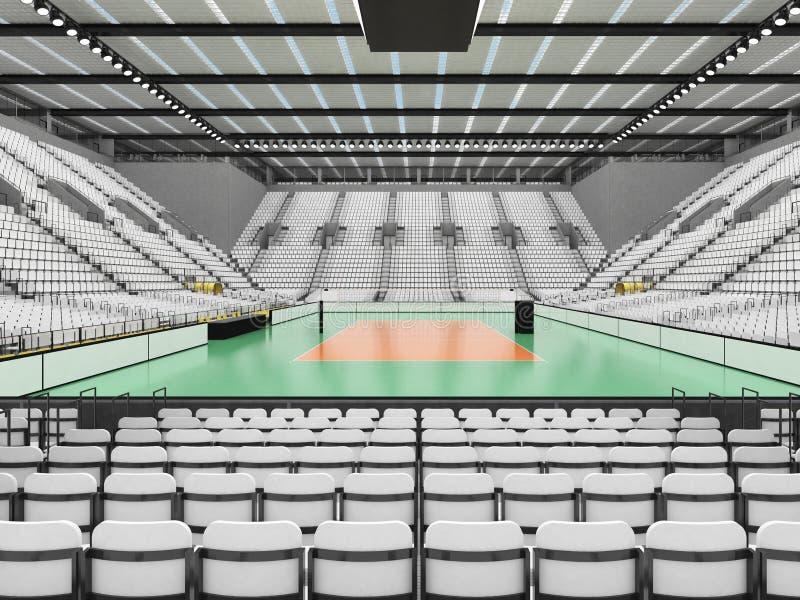排球的美好的竞技场与白色位子和VIP箱子- 3d回报 库存例证