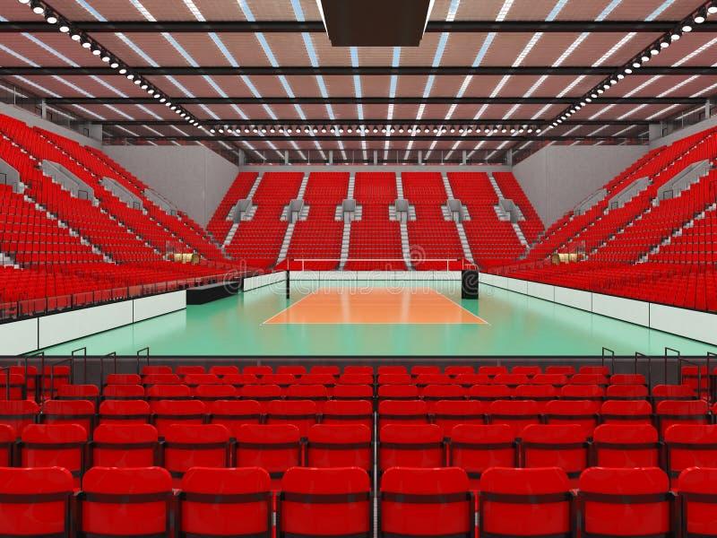 排球的美好的竞技场与红色位子和VIP箱子- 3d回报 向量例证