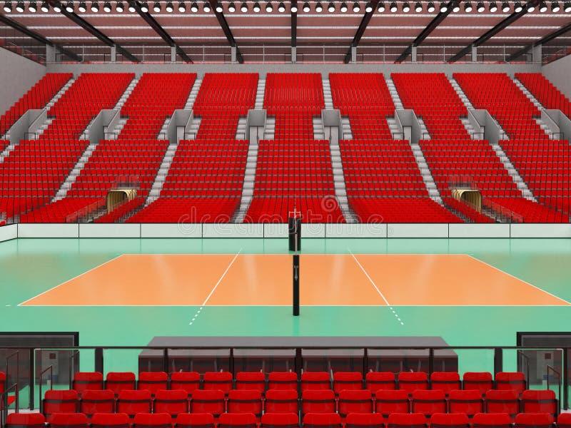 排球的美好的竞技场与红色位子和VIP箱子- 3d回报 库存例证