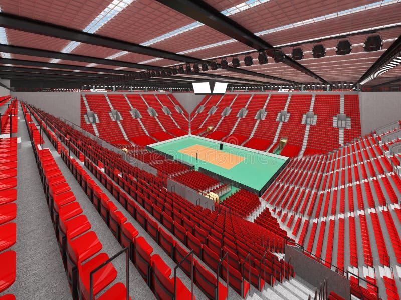 排球的美好的竞技场与红色位子和VIP箱子- 3d回报 皇族释放例证