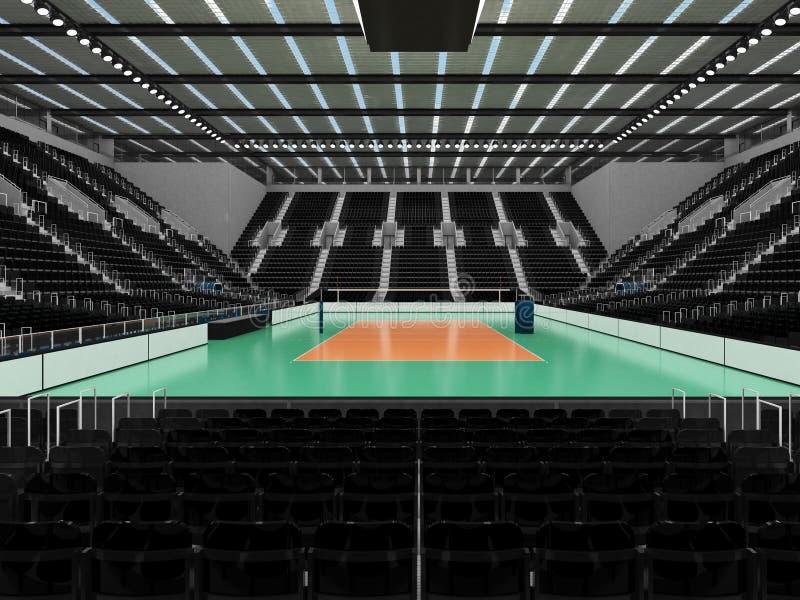 排球的美好的竞技场与黑位子和VIP箱子- 3d回报 皇族释放例证