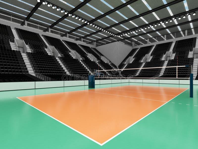 排球的美好的竞技场与黑位子和VIP箱子- 3d回报 库存例证