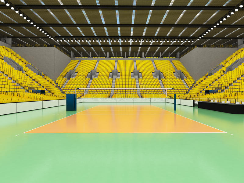 排球的美好的竞技场与黄色位子和VIP箱子- 3d回报 向量例证