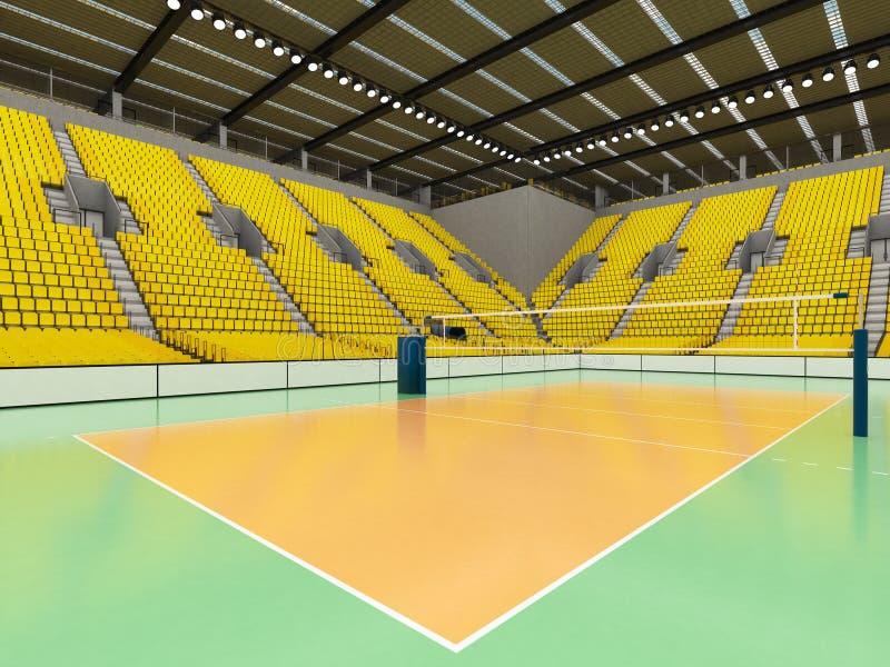 排球的美好的竞技场与黄色位子和VIP箱子- 3d回报 皇族释放例证