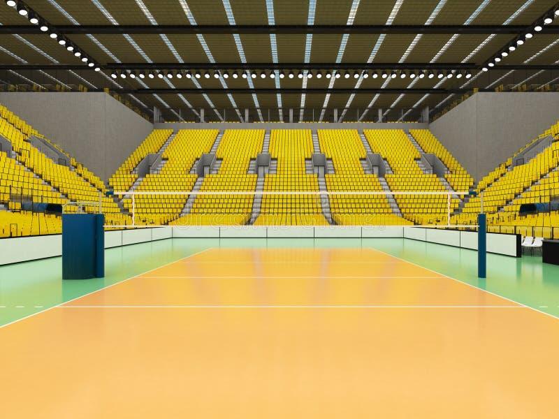 排球的美好的竞技场与黄色位子和VIP箱子- 3d回报 库存例证