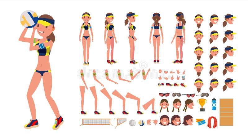 排球运动员传染媒介 沙滩排球女性体育 生气蓬勃的字符创作集合 全长,前面,后面看法 库存例证