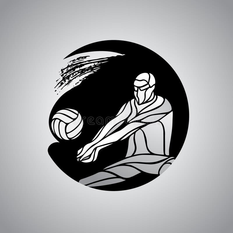 排球运动员接受球剪影商标象 向量例证