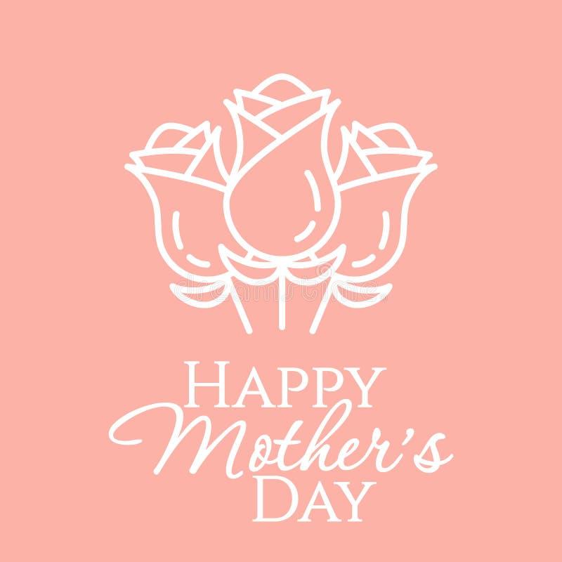 排行与在桃红色淡色背景minimalistic母亲节祝贺卡片隔绝的叶子的白玫瑰花束 向量例证