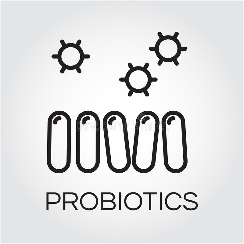 排行在概述样式得出的抽象probiotics标志象 向量例证