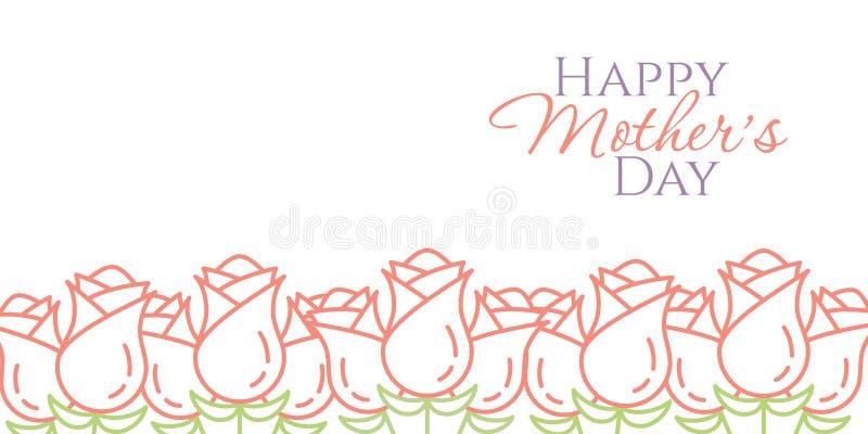 排行在白色背景minimalistic母亲节祝贺卡片或横幅隔绝的桃红色玫瑰边界 库存例证