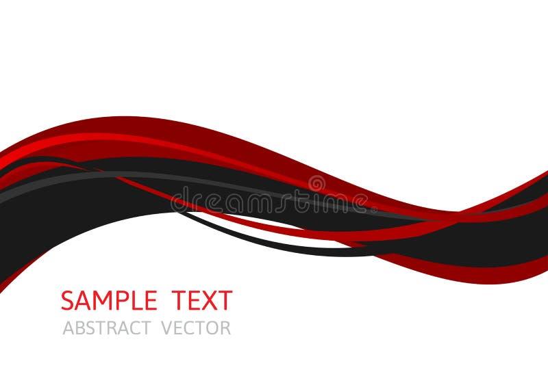 排行波浪红色和黑颜色,与拷贝空间的抽象传染媒介背景事务的,图形设计 向量例证