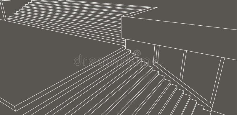 排行街道台阶剪影在灰色背景的 向量例证