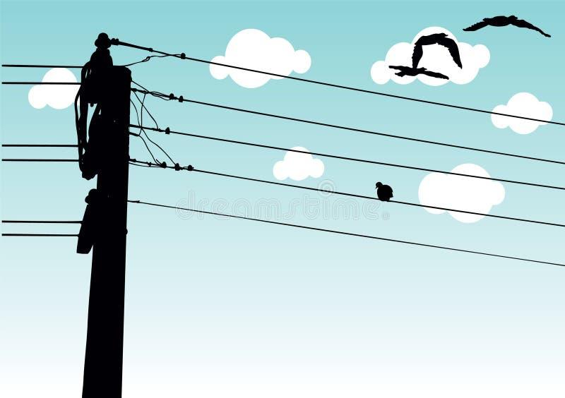 排行输电 向量例证