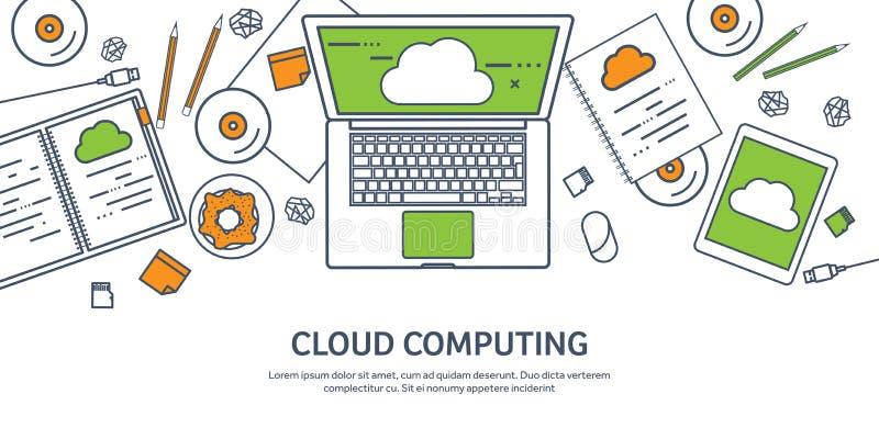 排行,概述传染媒介例证 与文件的工作场所桌,计算机 平的云彩计算的背景 媒体 向量例证