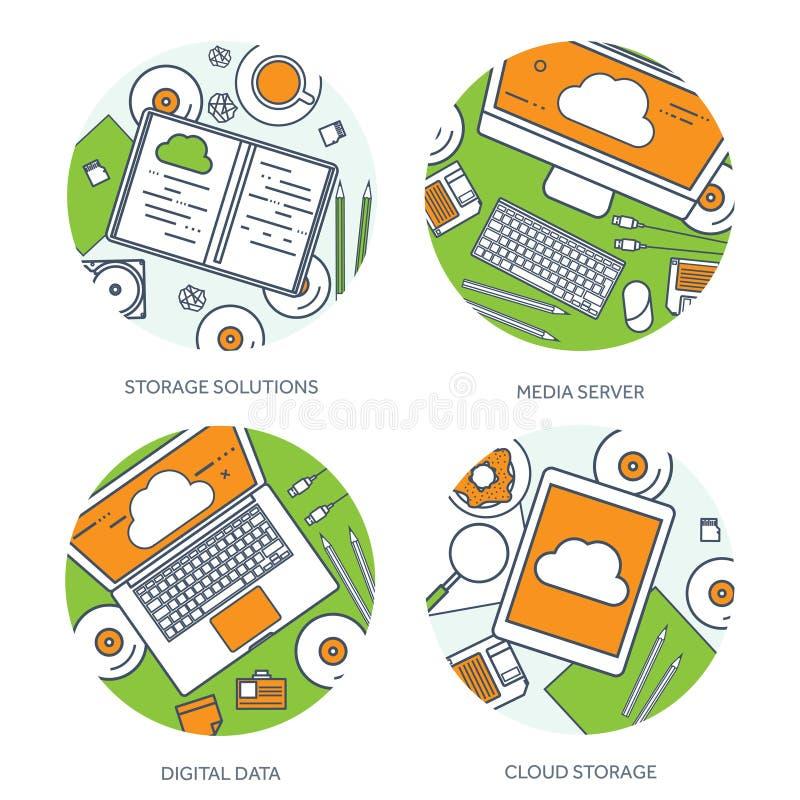 排行,概述传染媒介例证 与文件的工作场所桌,计算机 平的云彩计算的背景 媒体 皇族释放例证