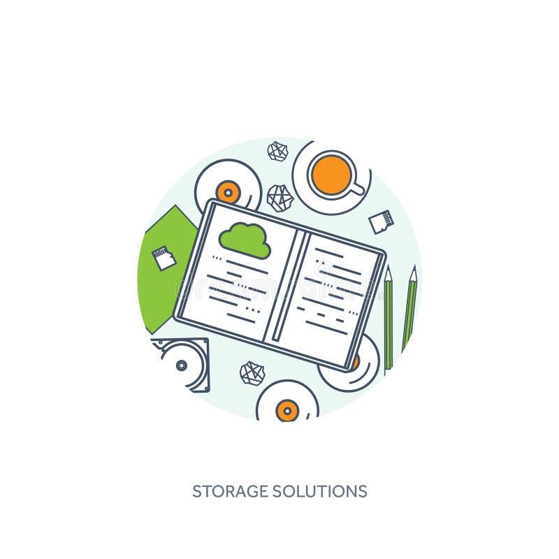 排行,概述传染媒介例证 与文件的工作场所桌,计算机 平的云彩计算的背景 媒体 库存例证