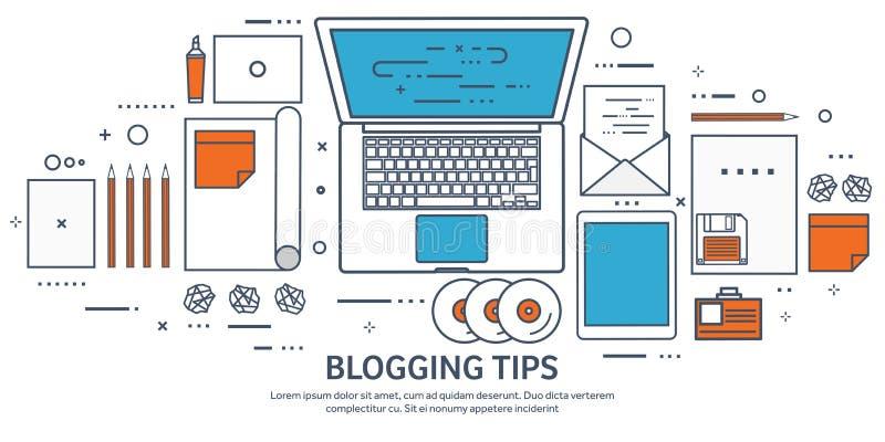 排行,概述传染媒介例证 平的打字机和膝上型计算机用手 讲您的故事 编写的 Blogging 库存例证