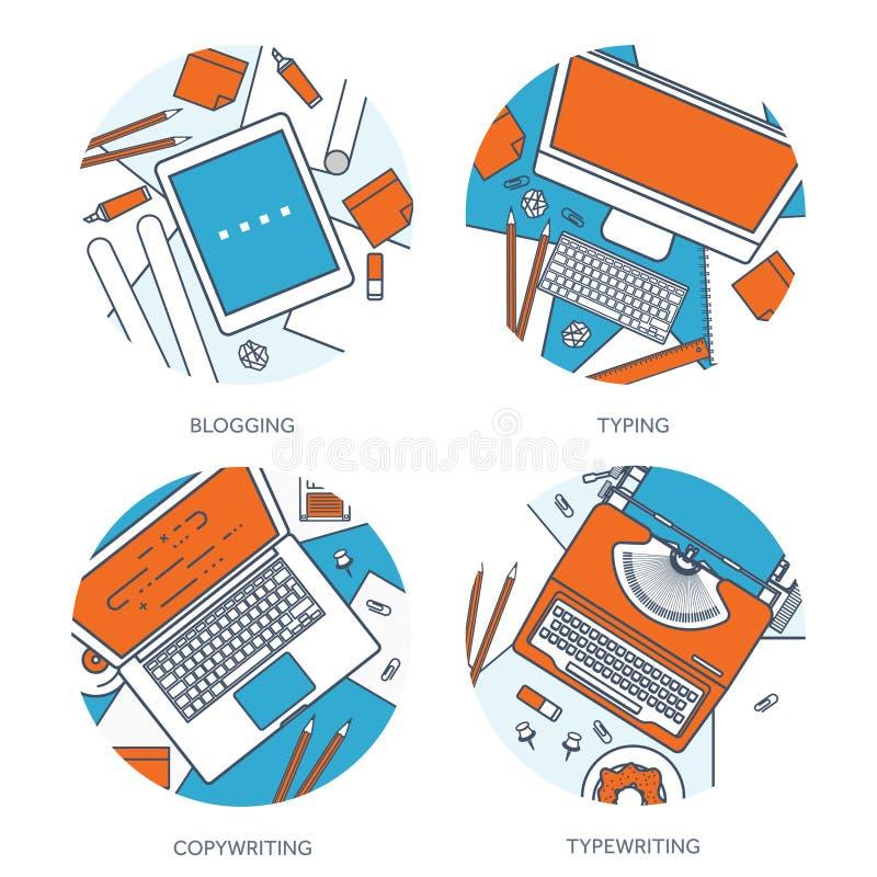 排行,概述传染媒介例证 平的打字机和膝上型计算机用手 讲您的故事 编写的 Blogging 皇族释放例证