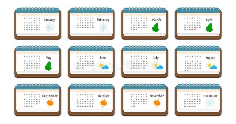 排进日程与几个月、周日、几星期和颜色图片的名字的象每个月的, 向量例证