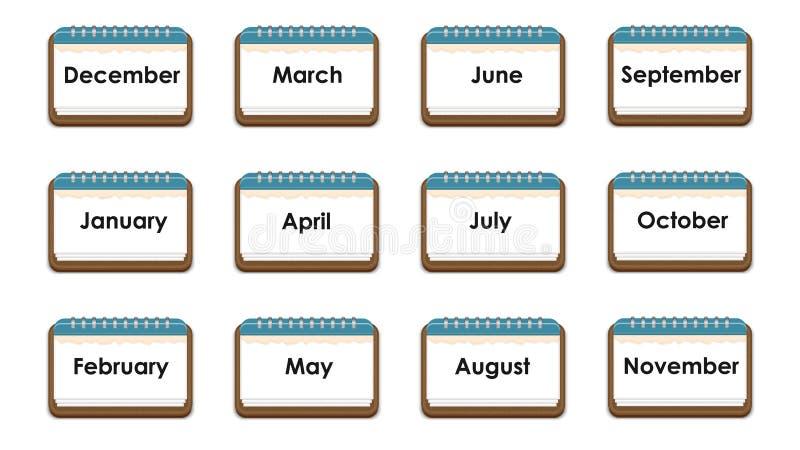 排进日程与几个月的名字的象,注意 库存例证