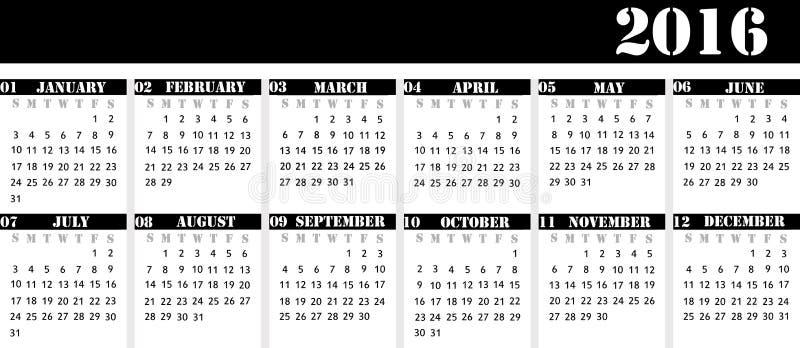 排进日程桌面日历的年2016年,严密的busines 库存例证