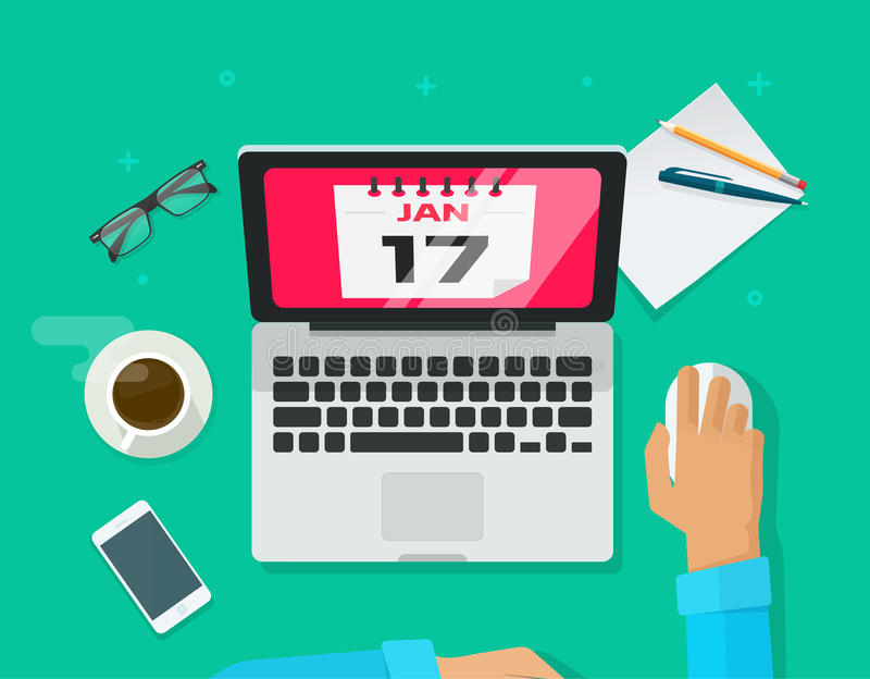 排进日程计划管理概念,人工作书桌组织者膝上型计算机的事件 向量例证