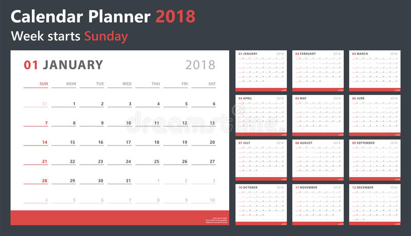 排进日程计划者2018年,星期开始星期天,传染媒介设计模板 库存例证